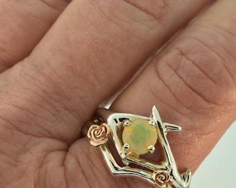Criss Cross Antler ring,alternative wedding ring, engagement ring, unique engagement ring, opal ring, rose gold ring, antler ring,