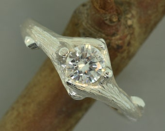 Sculpted branch ring, moissanite ring,engagement ring,alternative engagement ring,twig ring,twig engagement ring,branch and,twig band