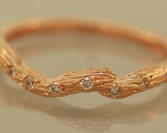 Diamond twig ring, diamond twig band,engagement ring,alternative engagement ring,twig ring,twig engagement ring,branch and,twig band
