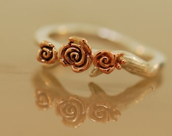 Antler Band, antler ring, rose ring, rose gold ring, twig ring, nature ring, flower band, engagement ring, engagement band