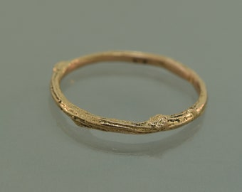 Real Twig band, gold twig band, branch band, rose gold band, white gold band,  alternative engagement ring, bud branch band, twig band,