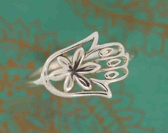 Sale Flower Hamsa Ring