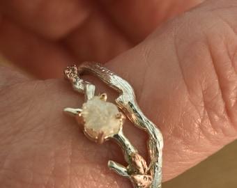 Leaf engagement ring, leaf ring, branch ring, twig ring, nature ring, alternative engagement ring, raw diamond ring, raw stone ring