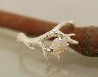 Antler Ring 2 with Raw Diamond, Rough Diamond Ring, Alternative Engagement Ring, Twig Ring, Twig Diamond Ring