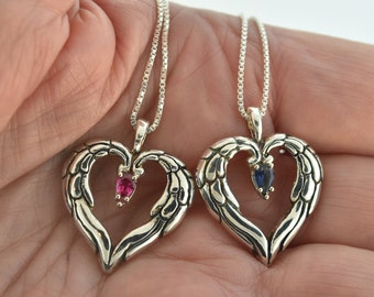 Angel Heart Pendant, wing pendant, angel heart necklace, heart necklace, silver heart, ruby wing heart, heart pendant, sapphire pendant,