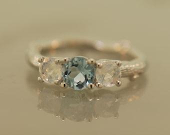 Bud Band with Aquamarine  and Moonstones,twig ring,alternatimve engagement ring, aquamarine twig ring,moonsotne twig ring,wedding band
