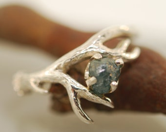 Antler Ring 2 with blue rough diamond,rough diamond ring,alternative engagement ring, twig ring, twig diamond ring, antler ring
