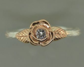 Leaf engagement ring, rose gold ring, white sapphire ring, elvish engagement ring, branch ring, twig ring, stacking ring.