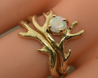 Antler Ring 2 with Australian opal, opal branch ring, opal twig ring, stack ring,  Ring, Alternative Engagement Ring, gold antler ring