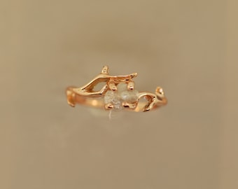 Elegant Twig,Stacking ring, Raw Stone Ring, Branch Alternative Engagement Ring, Raw Stone Ring,