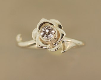 Double Thorned Rose Ring with White Sapphire, rose ring, thorn ring, silver rose, sapphire ring,