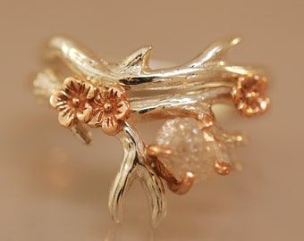 Antler Ring 2 With Rose Gold Flowers, Raw Diamond, Alternative Engagement Ring, Twig with Diamond, Raw Stone Ring