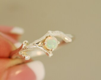 For Jessica Bud Branch with Opal, opal ring, wedding ring, twig ring, branch ring, opal twig ring, silver twig ring.