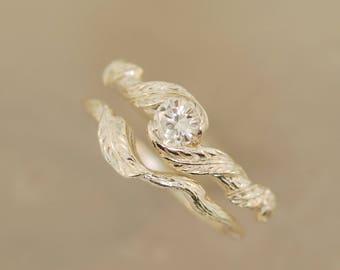 Leaf engagement ring, leaf wedding ring. Leaf wedding ring, moissanite leaf wedding ring, moissanite ring,