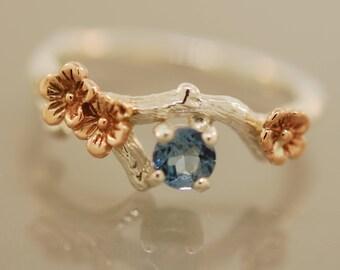 engagement ring, alternative engagement ring, leaf engagement ring, branch ring, branch band, elvish engagement ring, aquamarine ring