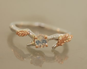 Leafy Branch Ring,twig ring,branch ring,alternative engagement ring,wedding ring, gold twig ring,