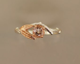 Rose Gold Leaf Bud Ring