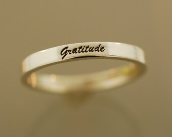 Gratitude Script Band, Engraved Sterling Silver Ring