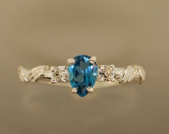 leaf engagement ring, alternative engagement ring, engagement ring, twig ring, elvish engagement ring,blue topaz ring