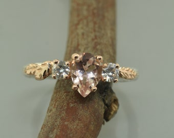 leaf engagement ring, alternative engagement ring, twig engagement ring, morganite engagement ring, 3 stone ring, rose gold ring,stack rings