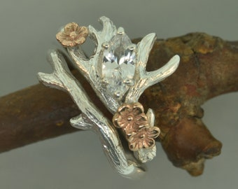 Antler Ring 2, marquise stone,moissanite ring,alternative engagement ring, twig ring, twig diamond ring, antler ring, sapphire ring