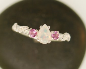 leaf engagement ring, alternative engagement ring, engagement ring, twig ring, elvish engagement ring, opal ring, pink sapphire ring