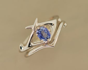 Criss cross antler set with Ceylon sapphire, alternative wedding ring,  engagement ring, moissanite ring, diamond ring