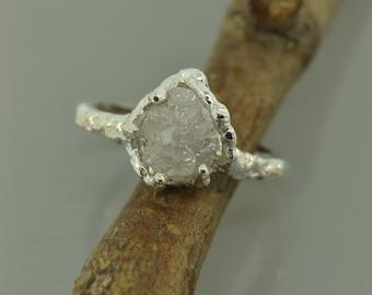 Textured Raw Diamond,Stacking ring, twig engagement ring,  Engagement Ring, Raw Stone Ring,rosegold ring,twig ring,