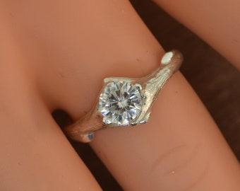 Sculpted branch ring, moissanite ring,engagement ring,alternative engagement ring,twig ring,twig engagement ring,branch and,twig band
