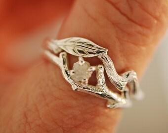 leaf engagement ring, raw diamond engagement ring, alternative engagement ring, twig ring, branch ring, twig ring, raw stone ring