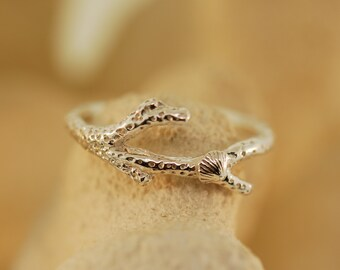 Coral Shell Branch Ring