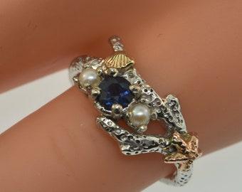 Sapphire Starfish Ring, coral ring, starfish ring, sapphire ring, Sapphire ring, coral branch, alternative engagement ring, pearl ring,