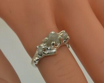 Branchy Chunky Raw Diamond Ring, Raw Stone Ring, Alternative Engagement Ring,  Sterling Branch Ring, Wedding Band