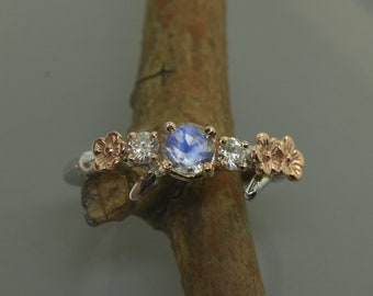 Cherry Branch Ring,stacking ring,engagement ring, alternative engagement moissanite  ring, branch ring, twig ring, moonstone ring,