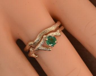 rose gold ring, engagement ring, twig ring, alternative engagement ring, emerald rose gold,branch ring emerald ring,, wedding rings