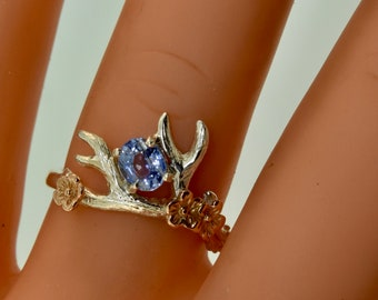 Antler 2 ring, antler ring, blue sapphire ring, alternative engagement ring, sapphire ring, Elvish ring, branch ring, pear shape sapphire,