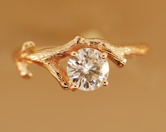 Bud Branch ring, alternative engagement ring, moissanite twig ring, engagement ring, diamond ring, twig engagement ring, branch band, stack