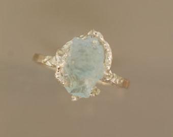 Free form Aquamarine Ring, Raw aquamarine ring, Rough Stone Ring, Twig Ring, aquamarine ring, sterling twig ring,