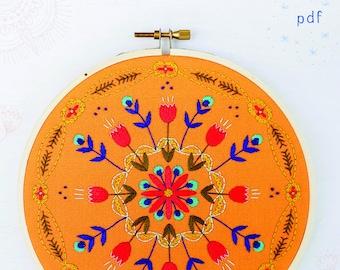TANGERINE MANDALA - pdf embroidery pattern, embroidery hoop, digital download, stitched mandala, meditative stitching, orange floral mandala
