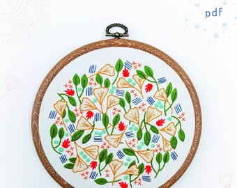 FOREST FLOOR - pdf embroidery pattern, embroidery hoop, digital download, ginkgo leaves, fall leaves, autumn inspired, embroidered leaves