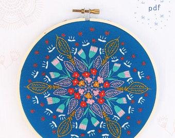 FLORAL BURST - pdf embroidery pattern, embroidery hoop art, floral burst on blue, bouquet of flowers, flower mandala, cozyblue, cozy blue