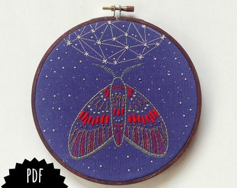 MIDNIGHT FLIGHT pdf embroidery pattern, moth and moon, embroidery design, night sky, celestial inspired, la luna, moth