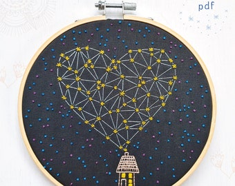 STARGAZING - pdf embroidery pattern, embroidery hoop art, hand embroidery, stars, celestial inspired, home sweet home, heart constellation