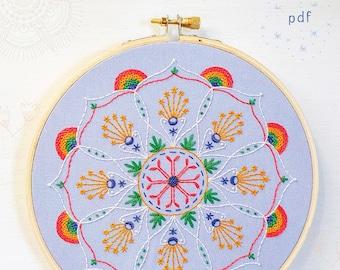 RAINBOW MANDALA - pdf embroidery pattern, embroidery hoop art, hand embroidery, pride, mandala design, stitched mandala, rainbow and stars