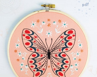 BUTTERFLY - pdf embroidery pattern, embroidery hoop art, DIY stitching, pink and white, butterfly, spring, summer, embroidered butterfly
