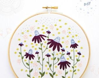 CONEFLOWER MAGIC - pdf embroidery pattern, embroidery hoop art, digital download, flowers and leaves, floral hoop, echinacea, garden art,