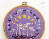 FAIRY RING - pdf embroidery pattern, embroidery hoop art, lunar phases, mushrooms moon, magic mushrooms, phases of the moon, hand embroidery