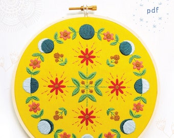 MOON FLOW - pdf embroidery pattern, embroidery hoop art, phases of the moon, la luna, lunar cycle, blue moons, celestial, floral, mandala