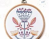 SHROOM BLOOM - pdf embroidery pattern, embroidery hoop art, mushroom flower, woodland botanical design, magic mushroom