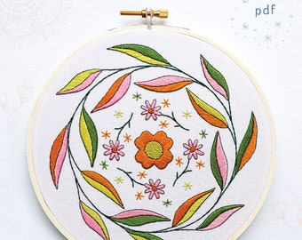 MELLOW MOOD - pdf embroidery pattern, embroidery hoop art, hand embroidered, leaf wreath, circle of leaves, mustard and pink, faded summer